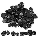 Alcoa Prime 100pcs Black Acrylic Rhinestone Flatback Sew On Dress Decor DIY Mixed Styles