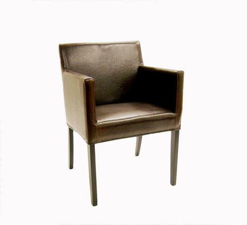 Baxton Furniture Studios Leather Dining Armchair, Espresso Brown