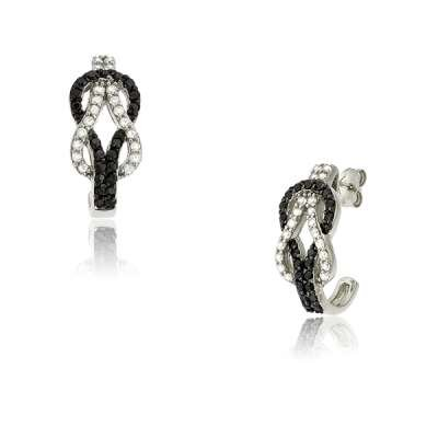 Casual Jewelry Earrings 925 Sterling Silver with Black and White CZ