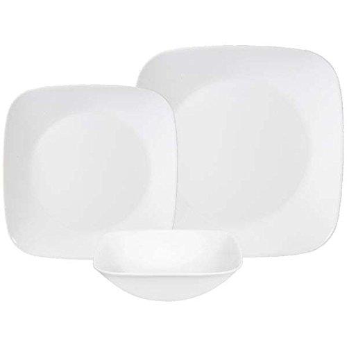 Corelle Square Pure White 18-Piece Dinnerware Set, Service for 6 (Corelle 18pc compare prices)