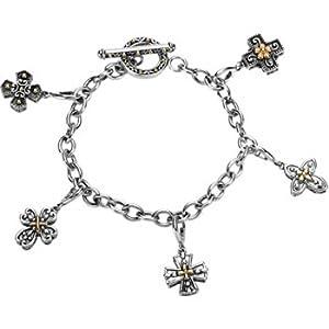 Sterling Silver 14K Gold Cross Charm Bracelet
