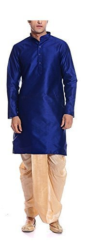 AMG Men's Royal Blue Kurta Golden Dhoti
