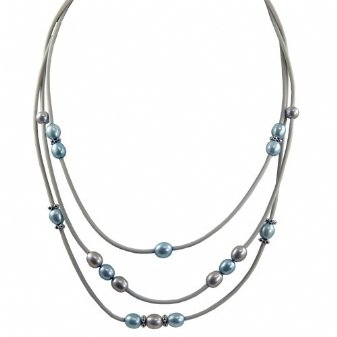 Sterling silver dyed blue and grey freshwater cultured pearl grey rubber necklace, 17.5-18.5