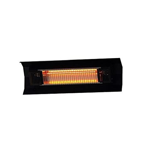 Modern Durable Black Steel Wall Mounted Infrared Patio Heater | Contemporary Weatherproof Home Indoor / Outdoor Space Heater by the Porch or Gazebo