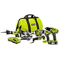 Ryobi P884 One 6-Piece 18-Volt Lithium-Ion Ultimate Combo Tool Kit
