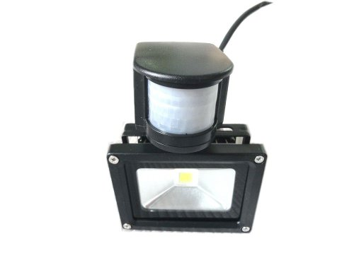 Lenbo 110V 10W Pir Led Flood Light Cold White Floodlight 6000K Motion Sensor Ac85V-265V Black Case Lw41