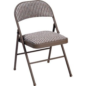 Deluxe Padded Steel Fabric Folding Chair Brown Kitchen