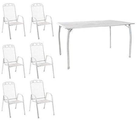 Greemotion Toulouse weiß Terrassen Gartenmöbelset 7 teilig Tisch 6x Stapelstuhl