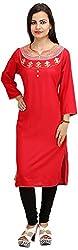 Khushi Garments Women's Rayon Regular Fit Kurta (Khushi024_S, Red, Small)