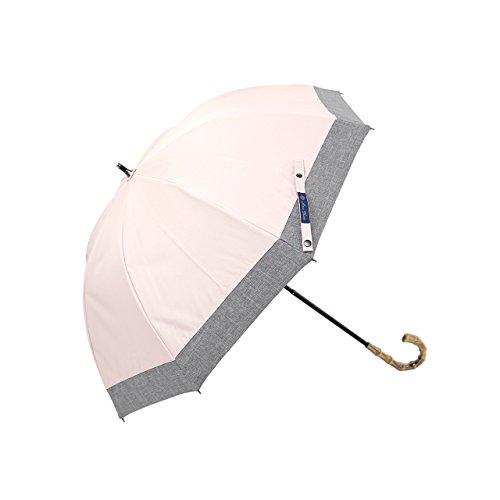 【Rose Blanc】100%完全遮光 日傘 コンビ ショートサイズ ダンガリー 50cm 15 (ピンク×ダンガリーグレー)