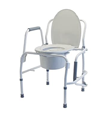 Lumex Steel Commode 3 In 1 Drop Arm Gray, White