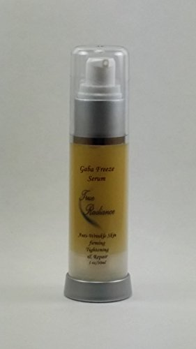 Gaba Freeze 24/7 Serum for Skin tightening, firming and sagging prevention. Also has 17% GABA (Gamma Amino Butryic Acid) causes Crease Release, Hyaluronic acid 10%, Pepha®-Tight, Dmae, Co enzyme Q10, Alpha Lipoic Acid PARABEN FREE. 1 oz/30ml.