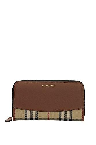 Burberry portafoglio portamonete donna in pelle bifold elmore marrone