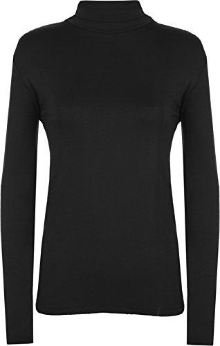 New Ladies Polo Neck Stretch Long Sleeve Womens Plain Top Jumper - Black - US 4-6 (UK 8-10)