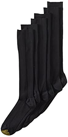 Gold Toe Men's 3-Pack Metropolitan Over the Calf Dress Socks,Black,10-13