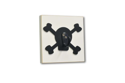 Homeworks Etc Pirate Skull And Bones Single Wall Hook, Black front-212629