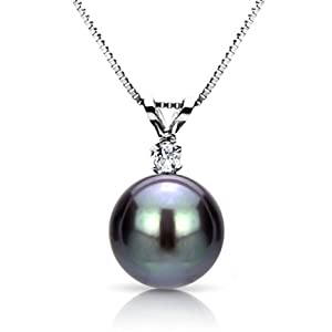 "14k White Gold .05ctw SI3-I1 Clarity / G-H Color Diamond with 9-10mm Hand-picked Black Genuine South Sea Tahitian Pearl Pendant AAA Quality with 18"" Box Chain Length Necklace. from La Regis Pearl & Gemstones"