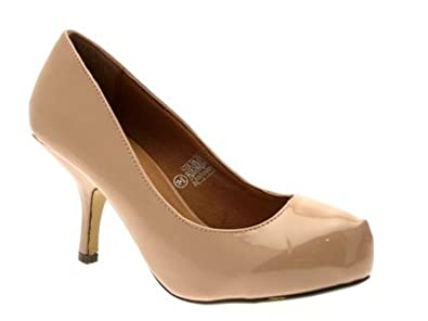 WOMENS FAUX LEATHER SQUARE TOE COURT STILETTO KITTEN HEELS LADIES SHOES PATENT NUDE SIZE 3