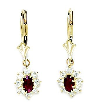 14ct Yellow Gold January Birthstone Red4x5mm CZ Oval Flower Leverback Earrings - Measures 27x8mm