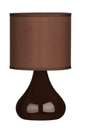 Premier Housewares Bulbus Ceramic Table Lamp with Fabric Shade - Brown