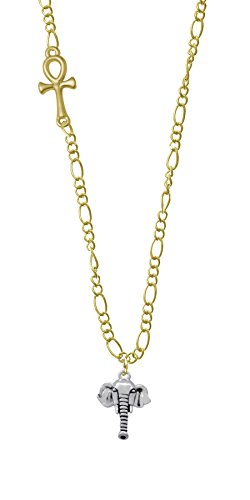 Elephant Head Gold Ankh Figaro Necklace