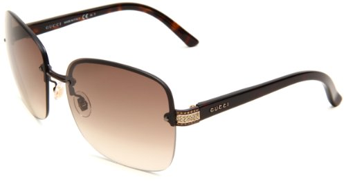 Gucci Women's 2897/S Rimless Sunglasses,Brown Havana Frame/Brown Gradient Lens,One Size