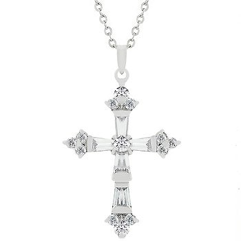 White Gold Rhodium Bonded Cross Pendant Necklace
