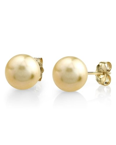 11-12mm Golden South Sea Pearl Stud Earrings in 14K Gold - AAA Quality