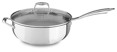 KitchenAid KCS60CFLS Stainless Steel 6.0-Quart Chef's Pan with Lid Cookware - Polished Stainless Steel