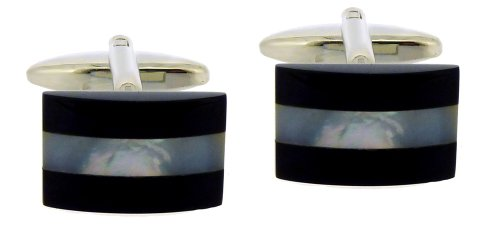 Code Red Base Metal Rhodium Plated and Real Mother-of-Pearl and Onyx Stones Cufflinks