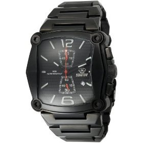 REACTOR Men's 57501 Nucleus Chronograph Black Coral Dial Black Nitride Plated Watch