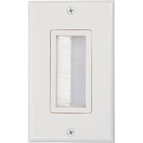 Buyer's Point Brush Wall Plate, Decora Style, Cable Pass Through Insert for Wires, Single Gang Cable Access Strap, Wall Socket Plug Port for HDTV, HDMI, Home Theater Systems and More (White) (Wall Plate Cord Cover compare prices)