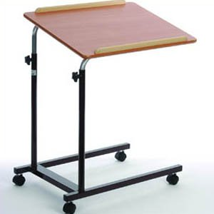 Quality Brown Overbed / Chair / House Table Height and Angle Adjustable - 4 Casters