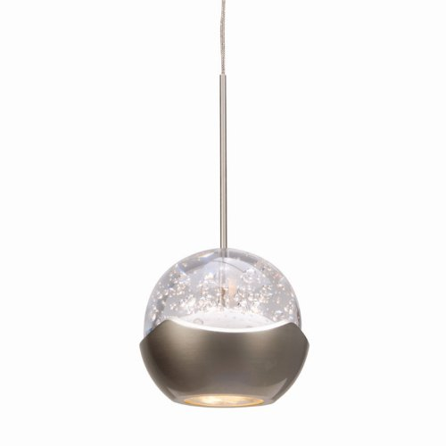 WAC Lighting MP-LED311-BN/BN Genesis Collection 1-Light LED Monopoint Pendant, Brushed Nickel with Bubble Glass Shade