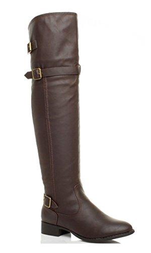 womens-ladies-low-heel-strap-buckle-winter-zip-over-knee-biker-riding-boots-size-6-39