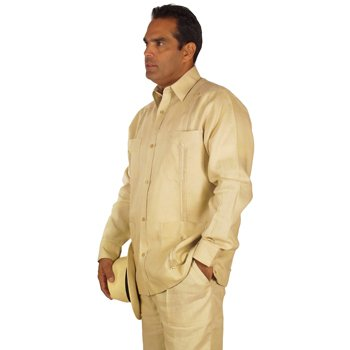 Linen long sleeve guayabera for men in natural