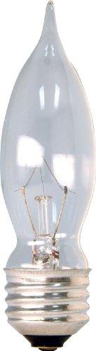 Ge 16049 40-Watt Bent Tip Medium Base Light Bulb, 4-Pack, Crystal Clear