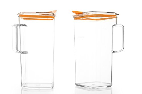 Komax Tritan BPA-Free Pitcher, 64 Ounce, Orange Lid (Set of 2) (Plastic Beverage Pitcher compare prices)