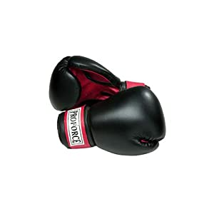 Buy ProForce Leatherette Boxing Gloves - Black with Red Palm by Pro Force