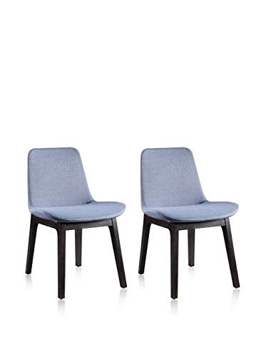 Ceets Set of 2 Glide Dining Chairs, Light Blue/Gray