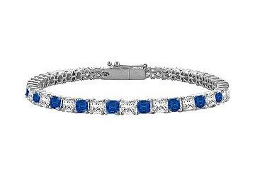 Blue Sapphire Diamond Princess Cut Platinum Tennis Bracelet 5.00 CT TGW