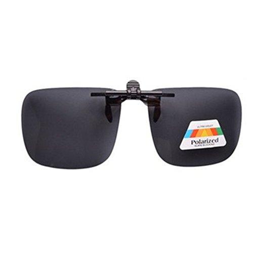 OFT Flip-up Polarisator Blend Gläsern Sonnenbrillen-Clip Brille Sun-Clip Driving für Brillenträger (M, Grau)