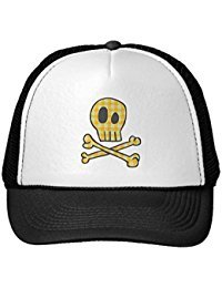 Funny Gingham Skull & Bones - Yellow Trucker Hat