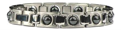 Hematite Silver Plated Classic - Stainless Steel Magnetic Therapy Anklet