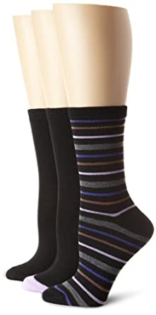 Nine West Women's Striped Solid Tipped 3 Pair Pack Crew Sock, Black Combo, 9-11