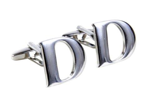 "Simplicity Large Vintage Monogram Cufflinks Letter ""D"" Initial - Silver Color"