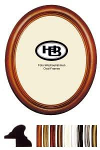 Picture Frame, Baumgart Oval Frame Papillon 10x15 cm with stand up display ivory with silvery inner edge - normal glass 2-pack