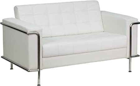 Flash Furniture ZB-LESLEY-8090-LS-WH-GG Hercules Lesley Series Contemporary White Leather Love Seat with Encasing Frame
