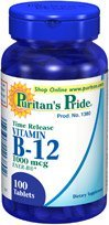 Puritan's Pride Ener-B 1000mcg 100 Tablets 1 Bottle