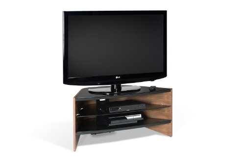 Techlink Riva Rv100w Tv Stand With Black Glass Shelves Suitable For